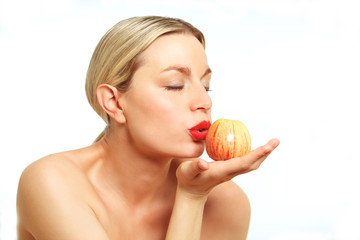 Blonde female model with Apple
