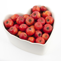 Crabapples in a heart shape bowl