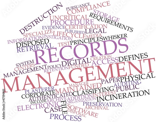 Word cloud for Records management