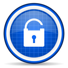 padlock blue glossy icon on white background