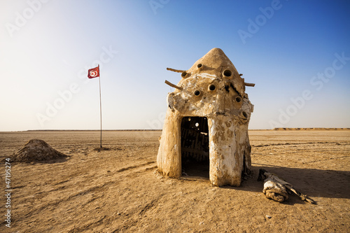 Old tent next to a Tunisian flag in the Sahara desert, Tunisia