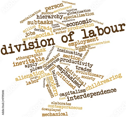 Word cloud for Division of labour