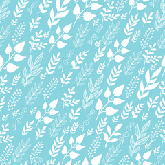 VectorLeaves Silhouettes moving In the Wind Seamless Pattern