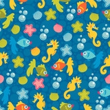 Cute seamless pattern marine life