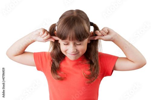 Little girl covered his ears