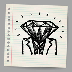 Doodle businessman-diamond sketch concept