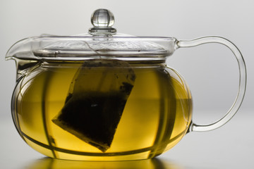 Glass tea pot with tea bag
