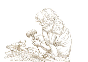 Geppetto carves from a wooden-blocks his son, Pinocchio