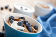 cornflakes with blueberry and yogurt