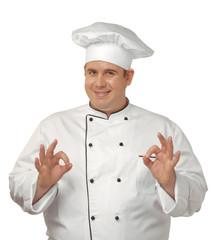 Retrato de un cocinero,chef optimista.