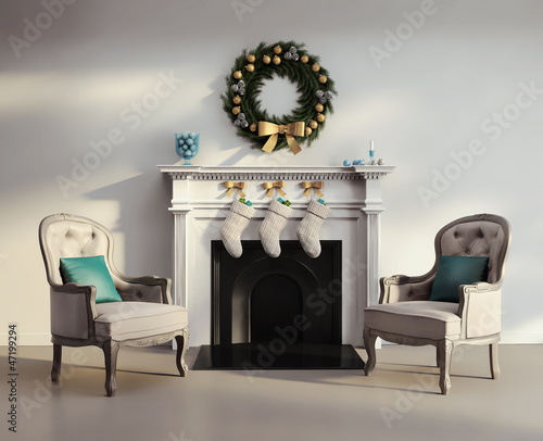 Elegant luxury contemporary living room with white fireplace