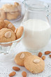 homemade almond cookies with milk