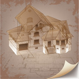 Architectural background with a 3D building model