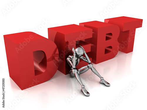 human character sitting with word DEBT on his back. Debt concept