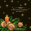 New year and Christmas card with Christmas decorations