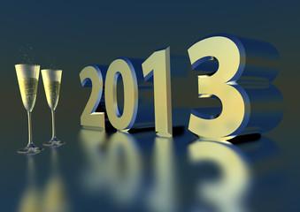 zwei Sektgläser vor 2013 Jahreszahl