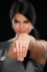 Woman Showing Diamond Ring