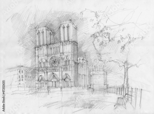Pencil drawing of the historic facade of Notre dame, Paris