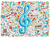 Music G Clef Groovy Doodles Vector Illustration Set