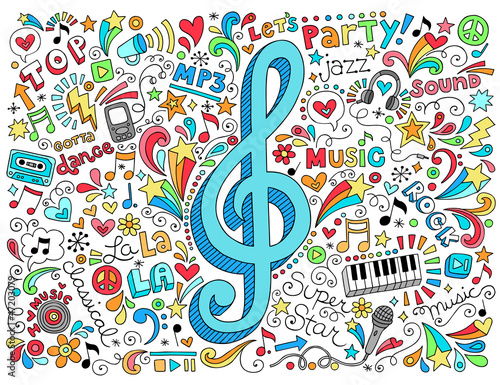 Music G Clef Groovy Doodles Vector Illustration Set - 47203079