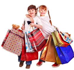 Children holding shopping bag.
