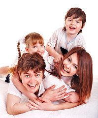 Happy family with children.