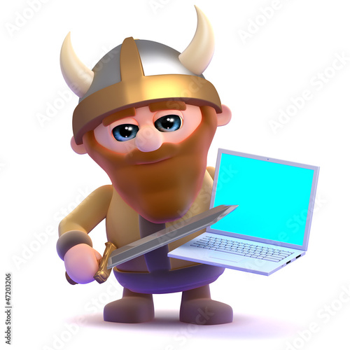 Viking is frustrated with his laptop