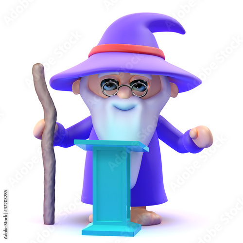 Wizard teaches spells from his magic lectern