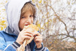 boy eating  sandwich