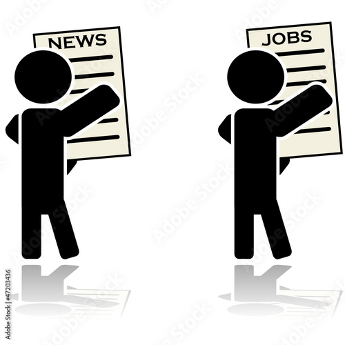 Man reading news and looking for a job
