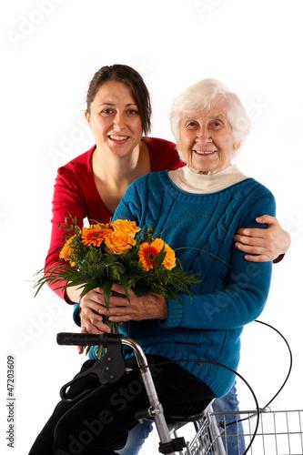 Frau mit Blumen  241112