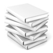 Stack of blank books over white