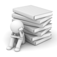Worried 3d man sitting with stack of books