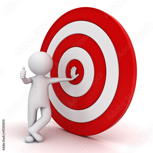 3d man showing thumb up with red target over white