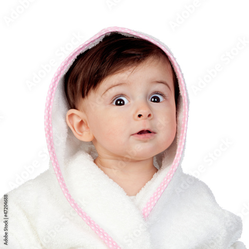 Surprised baby with bathrobe