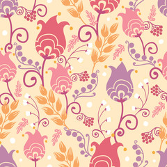 Vector colorful Dutch tulip flowers elegant seamless pattern
