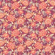 Vector golden flowers and leaves elegant seamless pattern