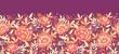 Vector golden flowers and leaves elegant horizontal seamless
