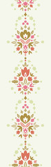 Vector floral damask vertical seamless pattern background