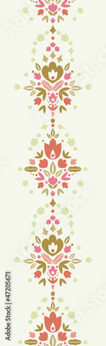 Vector floral damask vertical seamless pattern background