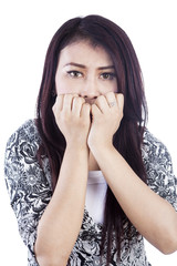 Expression of scared face woman isolated over white