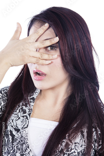 Fun expression in photo booth isolated over white
