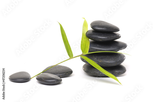 stacked stone with bamboo