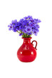 canvas print picture - beautiful red ceramic vase and cornflowers on white