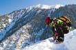 Sport man in snowy mountains