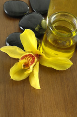 To view bottle of aromatherapy oil and orchid with stones