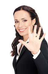 Businesswoman showing five fingers, on white