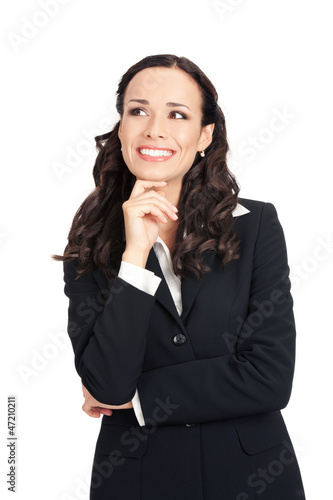 Thinking businesswoman, over white