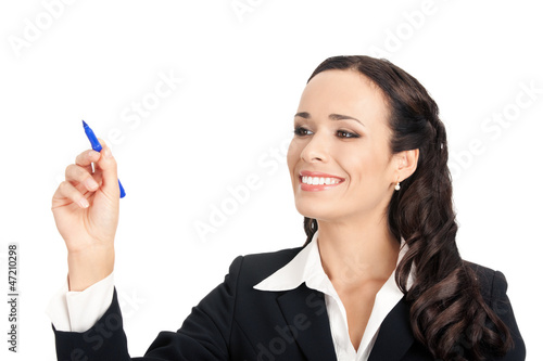 Businesswoman writing or drawing, isolated