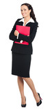 Businesswoman with red folder, isolated